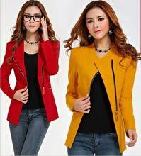 Blazer Women 2014 Design women's long-sleeve short winter jacket women zipper jackets woman Cost Clothes  Suit Jackets S-2XL