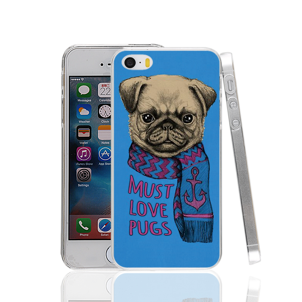 17706 <font><b>must</b></font> <font><b>love</b></font> pugs <font><b>dog</b></font> hard transparent Cover Case for Apple iPhone 4 4S 5 5S 5C SE 6 6S Plus