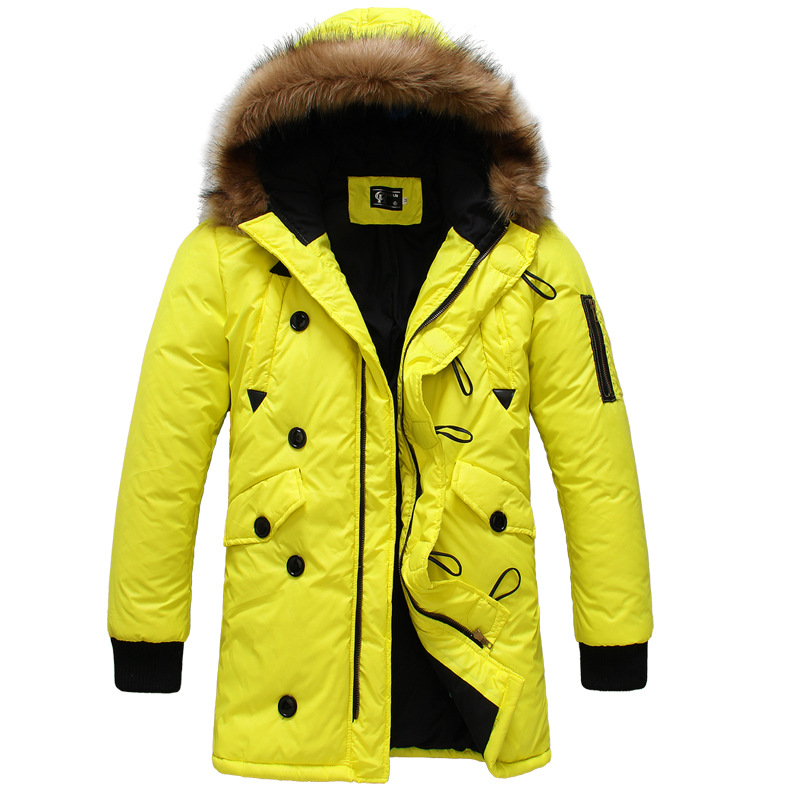 Free Shipping 2015 Fashion Brand Real Man Long Thick Winter Man Clothes Natural Fur Duck