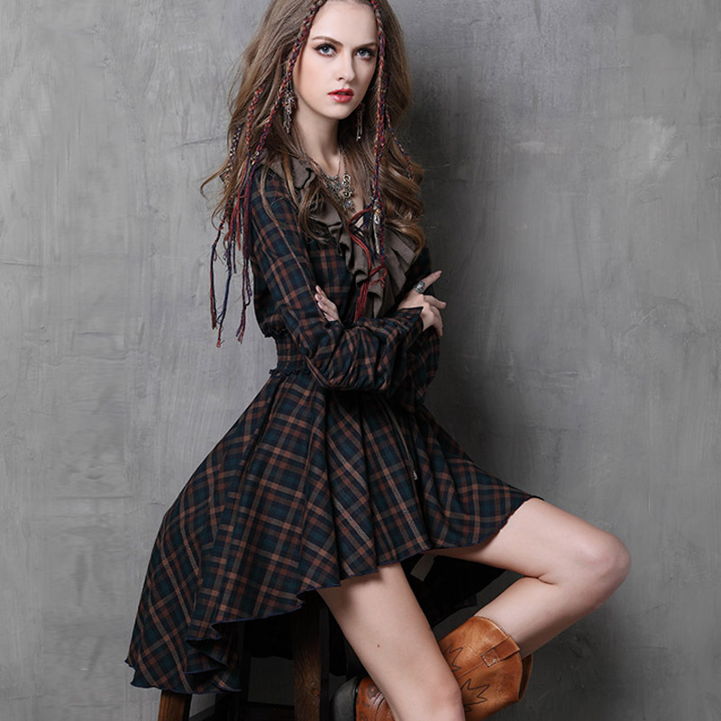 Vestidos Femininos 2015 Yuzi Autumn New Vintage Cotton Dress Plaid Patchwork V-Neck Ruffles Asymmetrical Women Dresses A6537(China (Mainland))