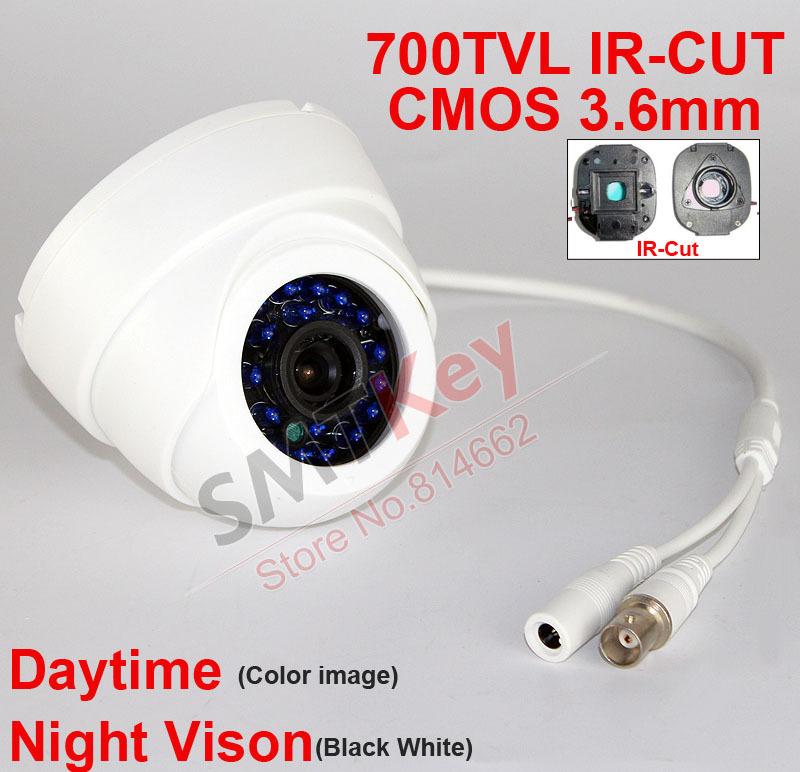 700tvl IR-cut CMOS CCTV Camera white plastic 24pcs blue IR LED 3.6mm lens Indoor Dome CCTV Camera(China (Mainland))