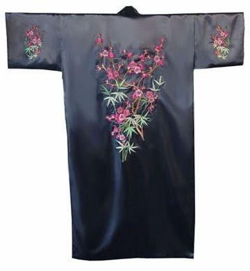 темно-синий мужской атласная вышивка шелковыми одеяние пижама кимоно банный халат с карманного размера s m l xl xxl xxxl m4s002