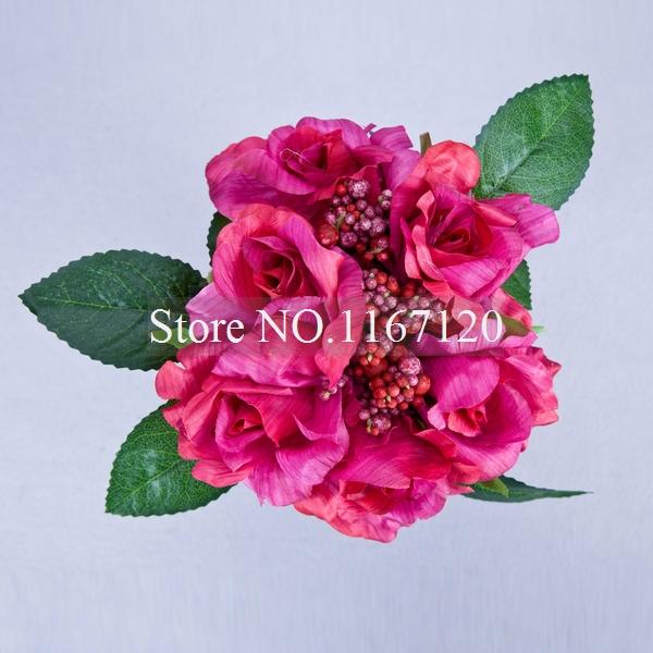 Free Shipping,Hot Sale 6Heads/Bunch Hot Pink Silk Wedding Favors Bouquet Flower Rose Bouquet Posy Artificial Silk Flowers(HQ41)(China (Mainland))