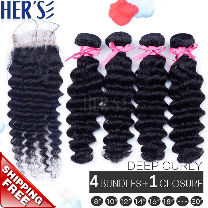 Peruvian Curly Hair Weft With Closure,Curly Virgin Hair ...