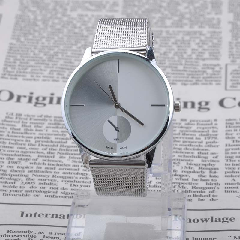 Quartz Casual Watch Bright Silver New Fashion Sell All Metal Mesh Stainless Steel Men And Women