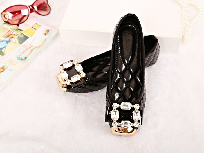 Freeshipping Best Selling Plus Size Lady Fashion Women Flat Shoes Square Toe Lady Rhinestone Girl's Shoes 4 Colors ML1844