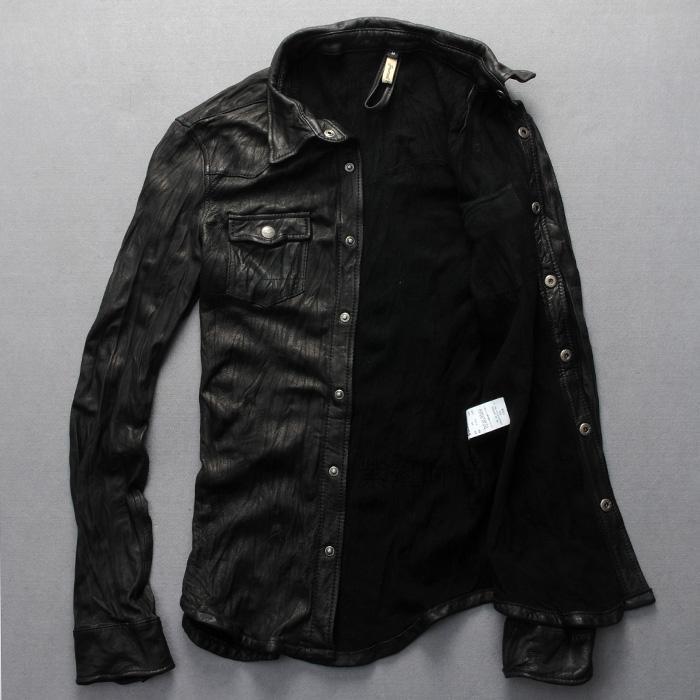 2016 New Men Motorcycle Leather Shirt Jacket Black Plus Size XXXL Genuine Sheepskin Men thin Coat Factory Direct FREE SHIPPING(China (Mainland))
