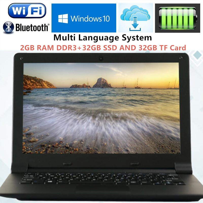 2GB RAM+32GB SSD and 32GB TF 11.6 inch Intel Z3735F Quad Core Laptop Computer Windows 10 J1900 Wifi Webcam Netbook with Free DHL(China (Mainland))