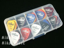 40 guitar picks + 1 storage box, Alice pic acoustic electric guitar plectrum guitarra, thickness mix 0.58-1.5mm(China (Mainland))