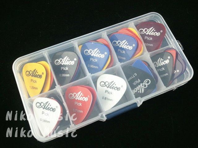 40 guitar picks + 1 storage box, Alice pic acoustic electric guitar plectrum guitarra, thickness mix 0.58-1.5mm(China (Mainland))