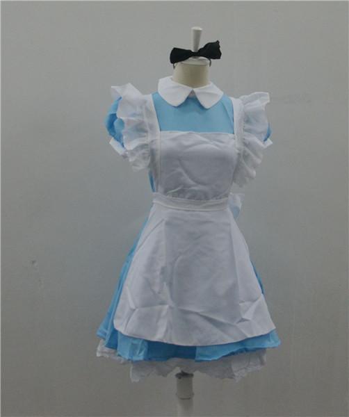 Halloween Fairy Costumes For Women 2015 Sexy Maid Dress Maid White Apron Bow Women's Cosplay Cartoon Character Costume(China (Mainland))