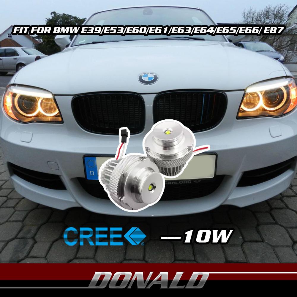 NEW DESIGN!! 2x 10W Xenon White CREE Chip LED Marker Angel Eye Halo HeadLight for E39 E53 E60 E63 E64 E65 E66 E87 Canbus(China (Mainland))