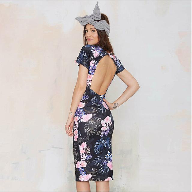 2015 весна и лето сладкий тропические растения сексуальное платье без спинки печатных тощий талии женщин мода новое платье