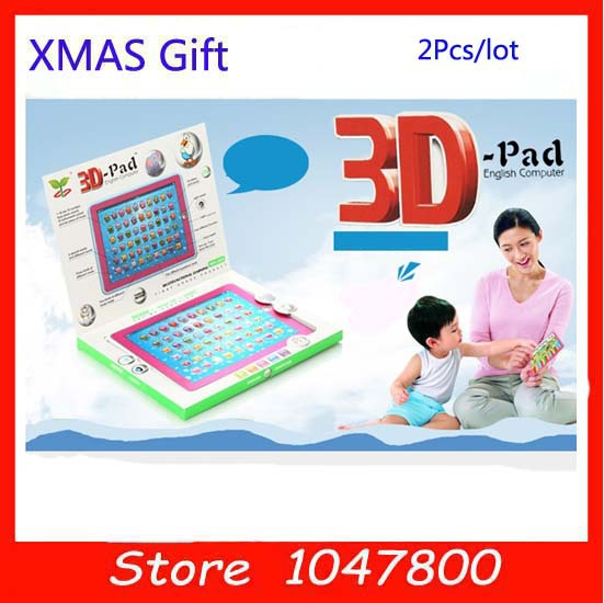 2 Color Optional English ABC 3D Learning Machine education Toys intelligent kids laptop Children's Computer Y Pad For Kids 2Pcs(China (Mainland))