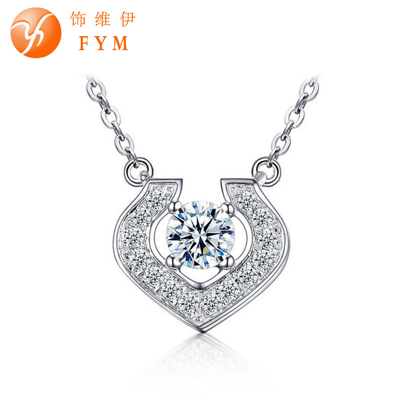 Promotion AAA Cubic Zirconia Diamond Chain Necklaces & Pendants For Women Girl Party Christmas Gift New Silver Jewelry Wholesale(China (Mainland))