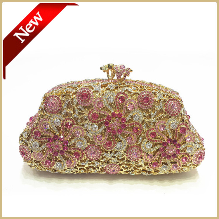 Hot!Flower Clutch handbags handmade Pink Crystal evening bags for Dinner wedding bridal party handbag#0801<br><br>Aliexpress