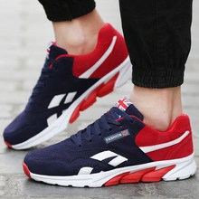 New Brand Men Casual Shoes Comfortable Breathable Suede Mesh Footwear Lace Up Flat Sport Trainers Zapatillas Hombre Black Red