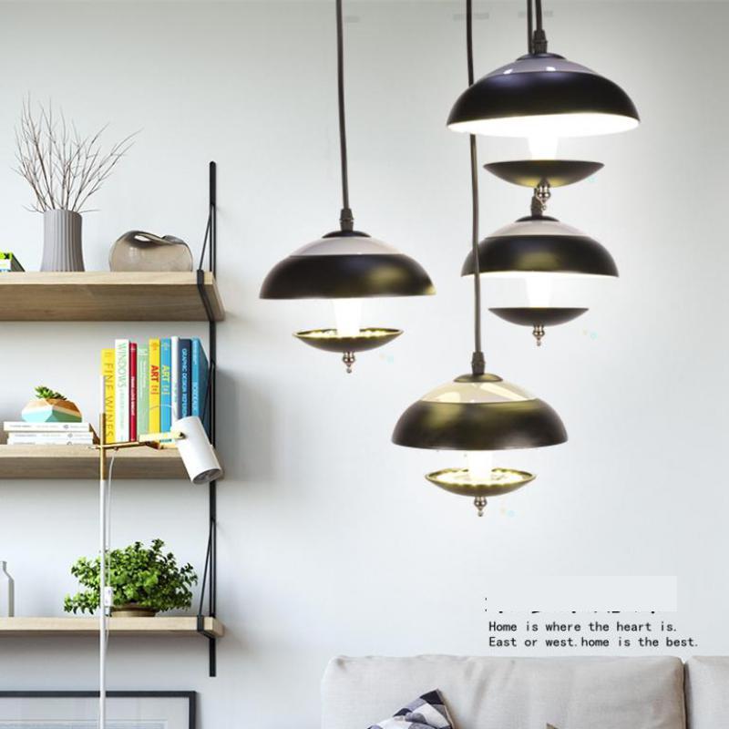 4 pcs 33W post Modern Led strip Mushroom pendant lights simple Black & red iron pendant lamp Restaurant Nordic led spot light(China (Mainland))