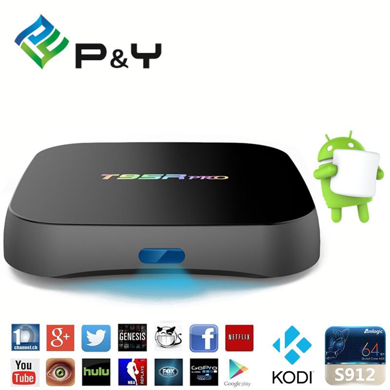 Smart Tv Box T95R PRO 2G 16G TV Box Android 6.0 S912 Octa-core cortex-A53 17.0 2.4G +5G Wifi Bluetooth Gigabit Media Player