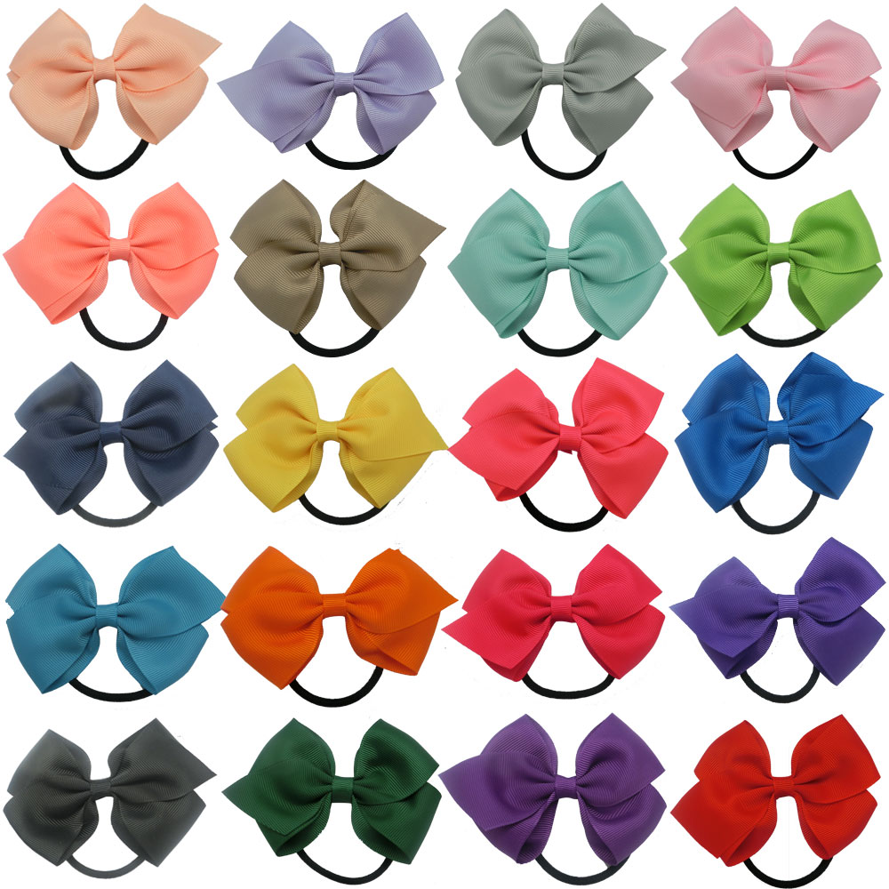 New Fashion Solid Ribbon Hair Bow With Elastic Band,Hamdmade Children Hairbows Accessories,Kid Girls Ponytail Holder Elastic Bow(China (Mainland))