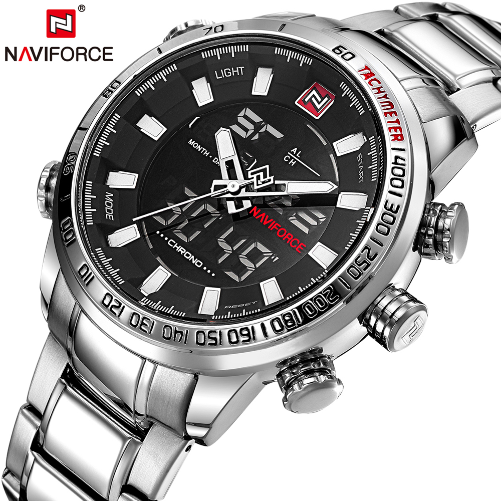 Men Watches NAVIFORCE Quartz Sport Watch Multifunctional Display Watch for Men Full Stainless Steel Male Clock Relogio Masculino(China (Mainland))