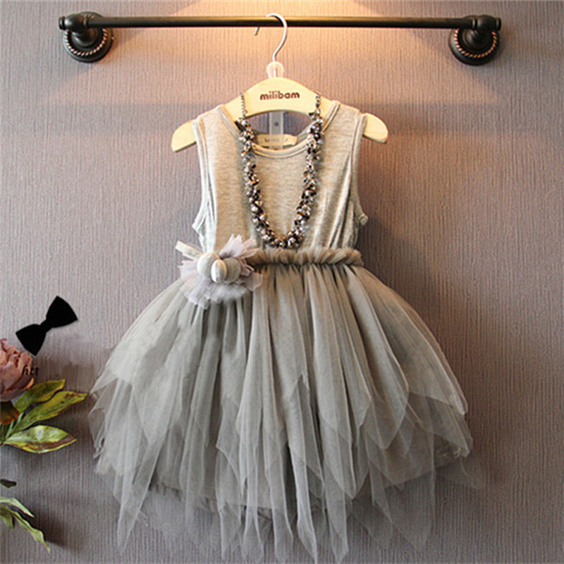 Coton Dentelle Gris Puff Girls Princesse Robe Noble Atmosph Rique Mar E Fan Enfants Robes Pour