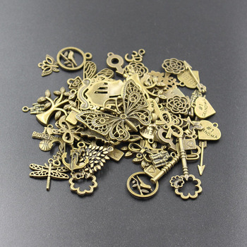 New Hot sales 50g (20-50pattern) mixed charms bronze silver plated metal pendants for diy bracelets&necklace jewelry making