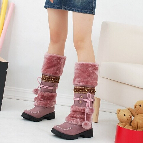Fashion Winter knee high boots snow boots faux fur women long boots winter shoes botas femininas/mujer Russian boot Jackboots(China (Mainland))