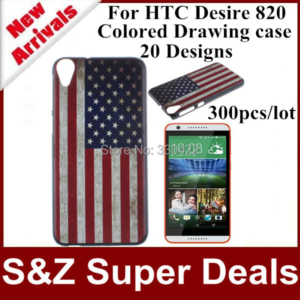 300pcs Free shipping phone cases printing Colored Drawing Skin cover plastic case for HTC Desire 820(China (Mainland))