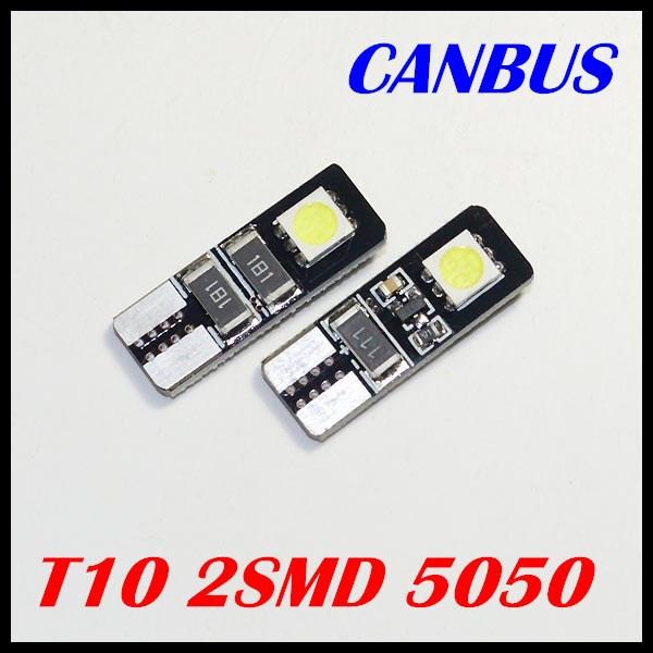 500шт Белый T10 2 SMD светодиодные лампы автомобиля canbus нет ошибки Лампа указателя поворота для хорошей цене