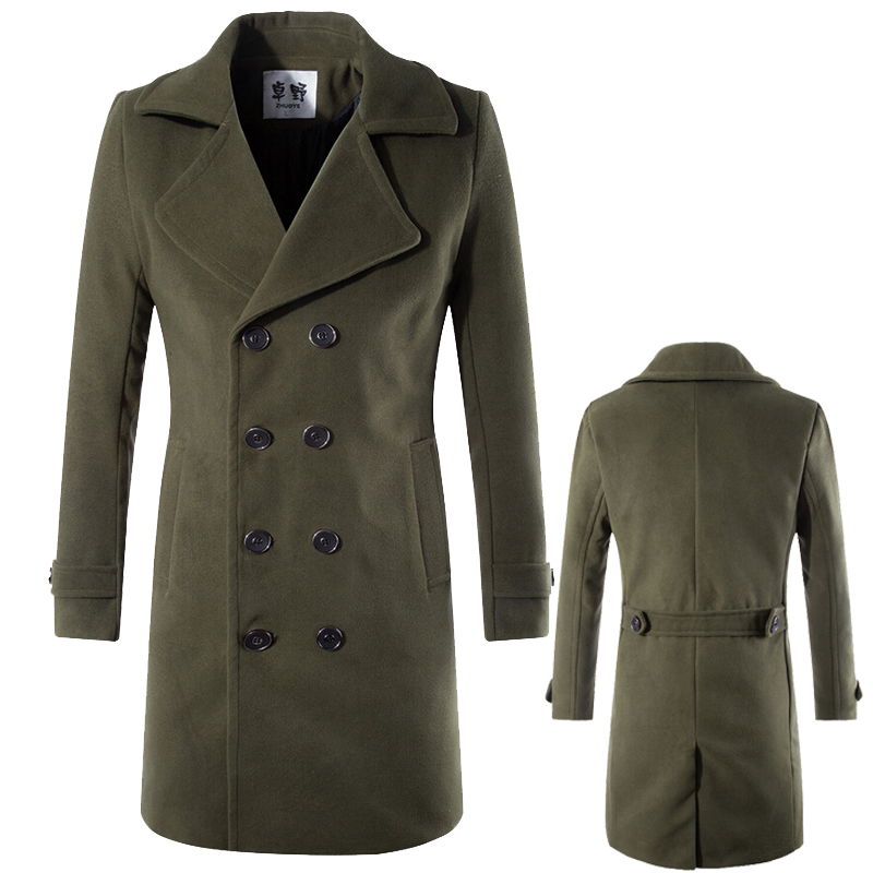 2015 New Fashion Mens Peacoat Slim Long Jacket Winter Wool Coat Men Military Trench Coat-in ...