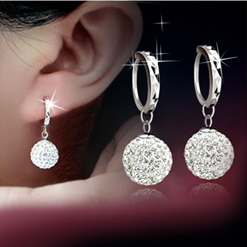 2015 Hot sale free shipping 925 pure silver stud earring full rhinestone ear buckle earrings fashion