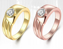 Rose Gold in Filled Engagement Ring with Centered Round Simulated Diamond on Tension Setting Band Tension