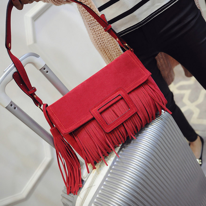 2015 autumn new retro fashion handbags diagonal brushed fringed shoulder bag hand bag small square<br><br>Aliexpress