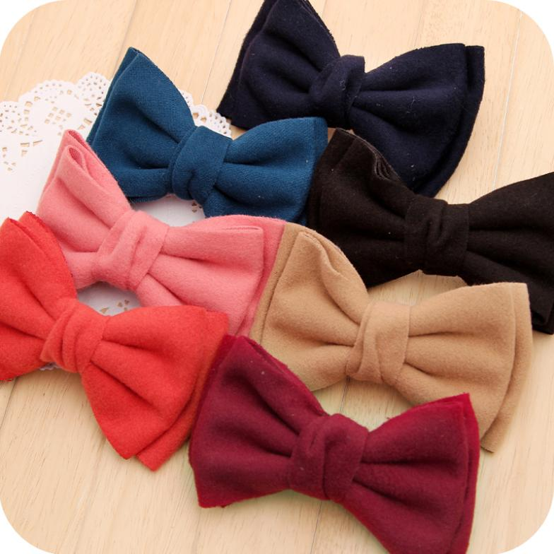 OH0079 new 2014 winter thick cloth headdress solid bow spring clip ponytail clip hairpin top folder hair accessories(China (Mainland))