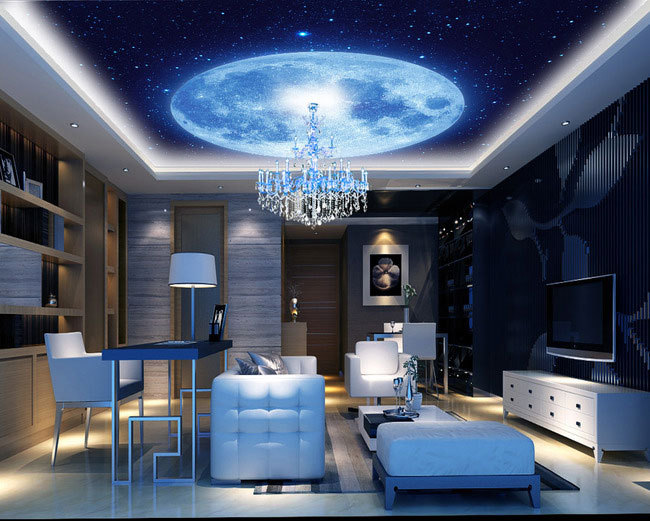 Blue Earth Cosmic Sky Zenith Living Room Ceiling Murals Wallpaper The Living Room Bedroom Study