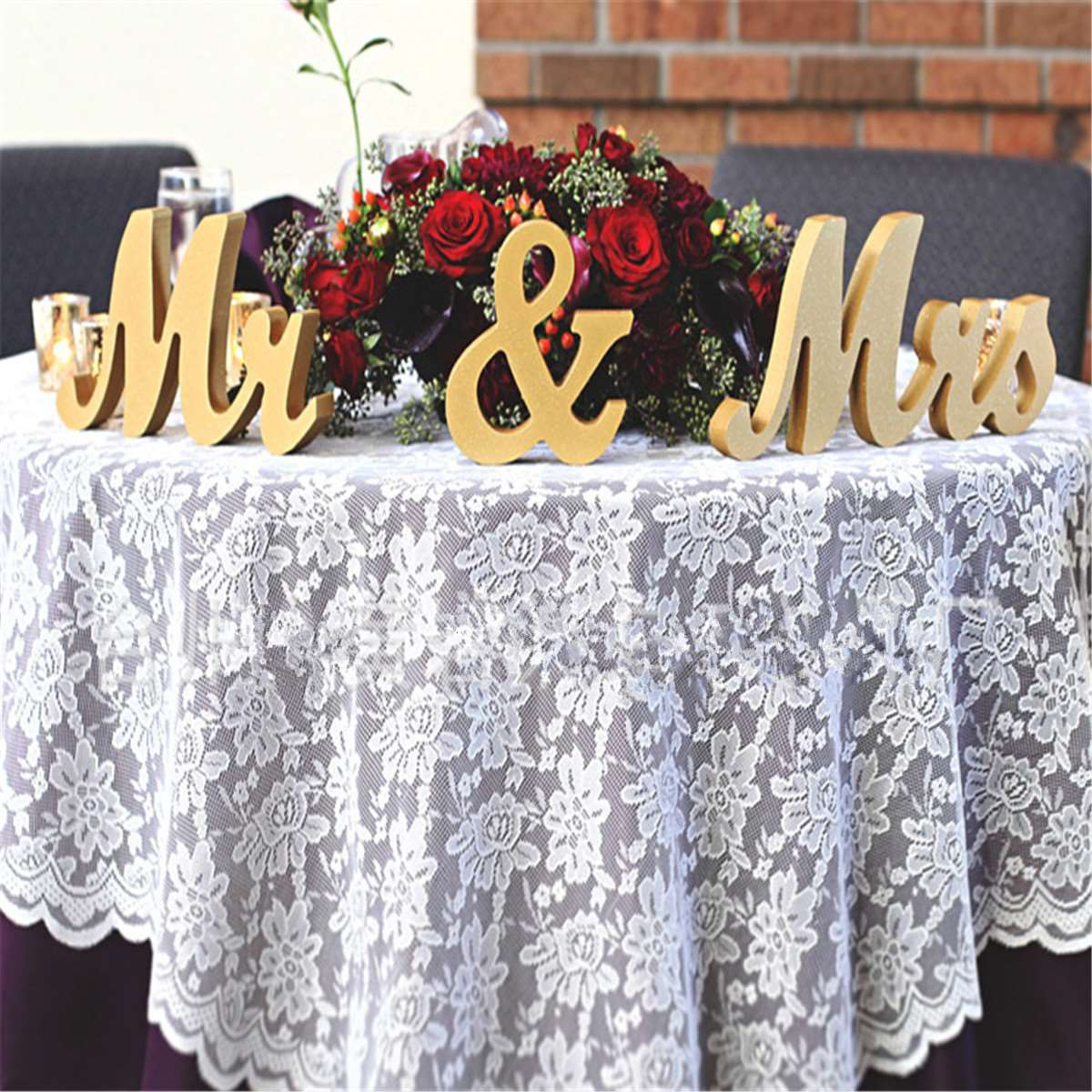 Gold Wooden Mr & Mrs Standing Letters Wedding Table Centrepiece Reception Sign Party Wedding Decoration Party Supplies(China (Mainland))