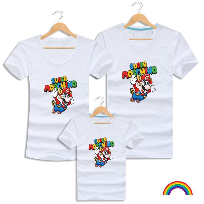 2016 Family Set Super Mario Shirt Color Printing Men T-Shirts Brand Clothes Games Clothing Summer Short-Sleeved Tee Tops LF4(China (Mainland))