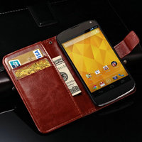 Flip PU Leather Case For Google Nexus 4 E960 Retro Wallet Style Flip Cover Nexus 4 With Card Slots and Bill Site