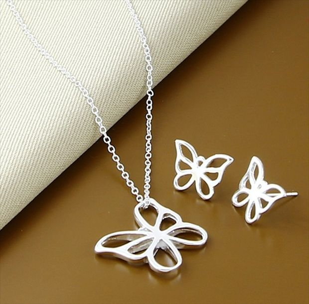 silver plated jewelry butterfly Necklace pendants Women Chains fashion necklace promotion - fan jj's store