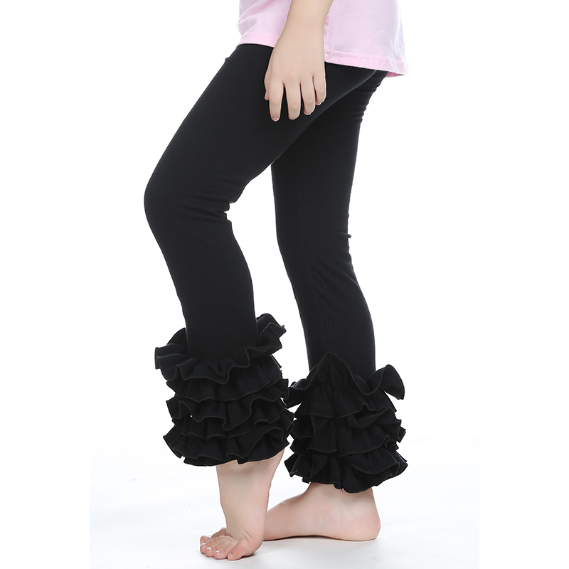 1 Pcs Girls Leggings Kids Ruffle Leggings Solid Color Cotton Trousers Children Baby Girl Ruffle Pants With 3 Ruffles Black Red(China (Mainland))