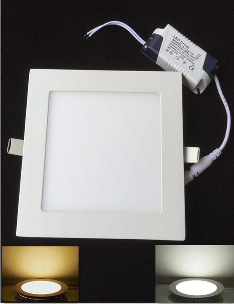 DHL Free shipping for 10pcs/lot Ultra thin 12W led panel light AC85-265V Warm White/White LED Downlight Recessed light<br><br>Aliexpress