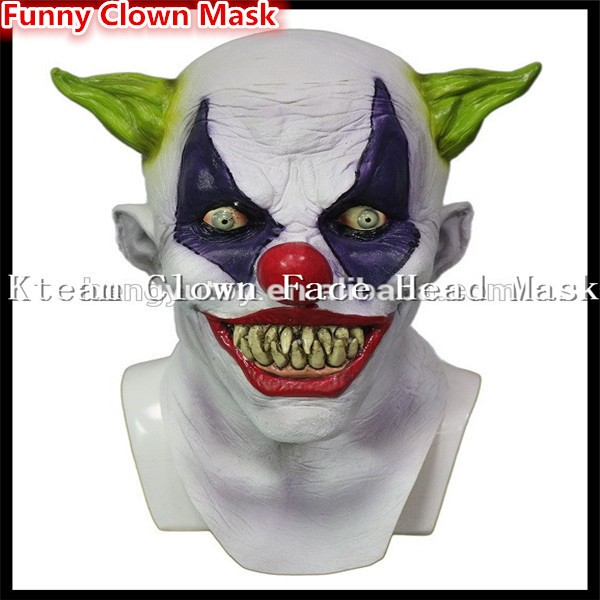 Top Grade 100% Latex Halloween Party Cosplay Funny Latex Scary Clown Mask Jester Joker Face Mask Costume Toys Free size in stock