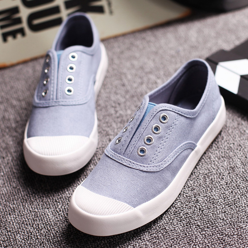Free Shipping Women Canvas Shoes Flat-heeled Preppy Style Casual Shoes Candy-colored Slip-on Canvas Outdoor Shoes Size 35~40<br><br>Aliexpress
