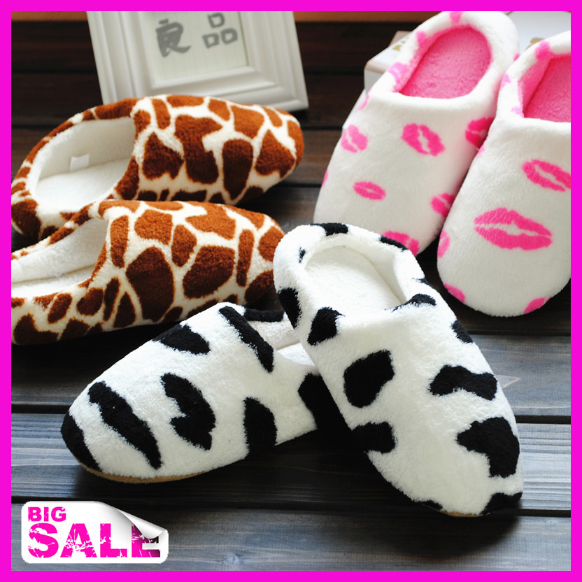 2014 Unisex Autumn and winter milk cow indoor wood flooring slippers at home lovers warm slippers soft outsole women's shoes(China (Mainland))
