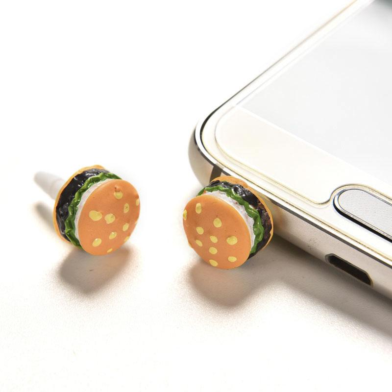 2PCS Cute 3.5mm Earphone Jack Dust Plug Universal Plastic Lovely Hamburger Anti Dust Mobile Phone Earphone Dustproof Plug Cap(China (Mainland))