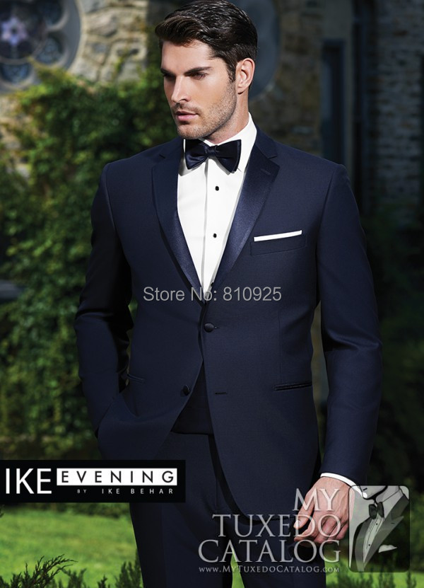 men suits wdding groom tuxedo navy 2015 custom made two piece wool slim fit - yan xiong's store