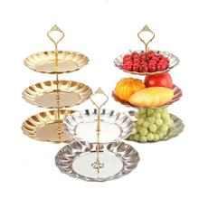 2-3 Tier Fruits Cakes Desserts Plate Stand Gold Color Stainless Steel Plates(China (Mainland))