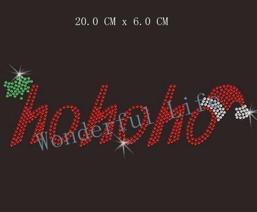 YX Free shipping 20 Pcs/Lot CHRISTMAS SANTA HO HO HO Hot Fix Motif Rhinestone Transfer Wholesale For DIY t-Shirts(China (Mainland))