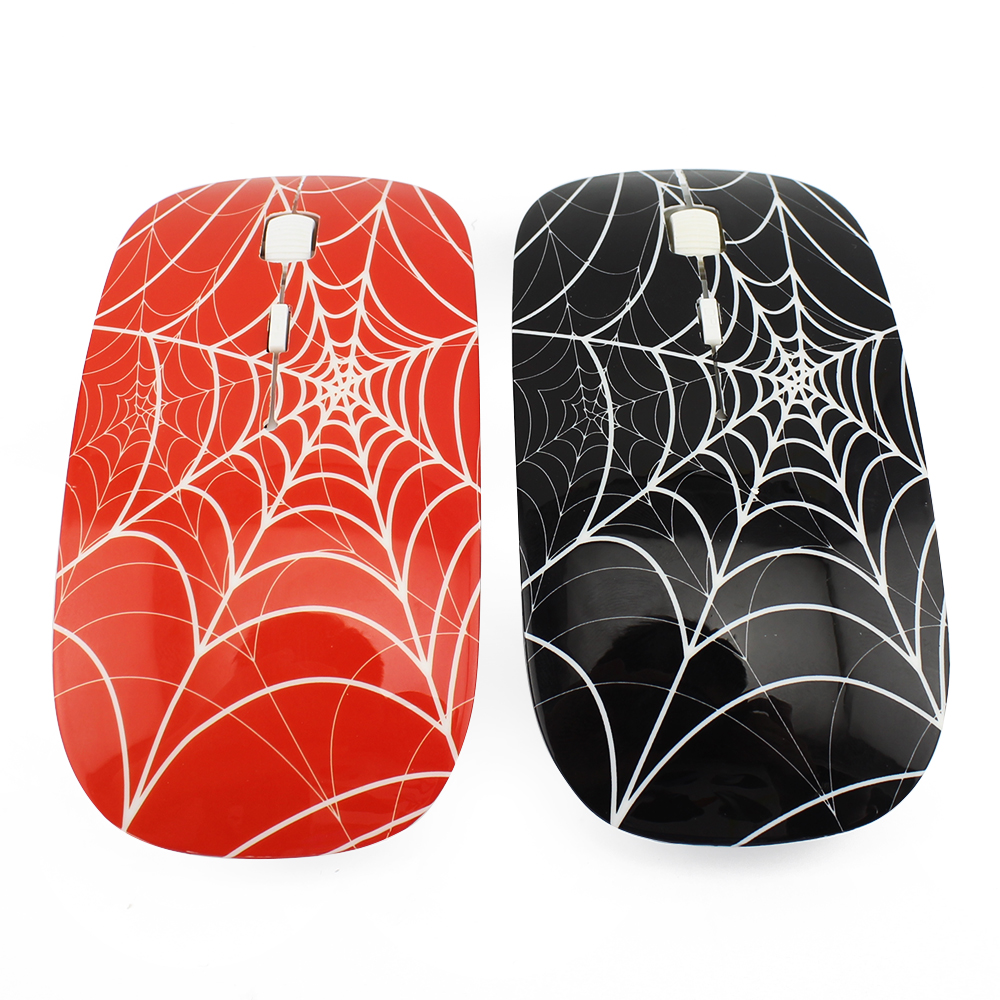 Spiderman Fashion Design Wireless 4D Optical Mouse Gaming Cobweb Shaped Computer Mause Mice 2.4GHz for Laptop Black/Red Color(China (Mainland))